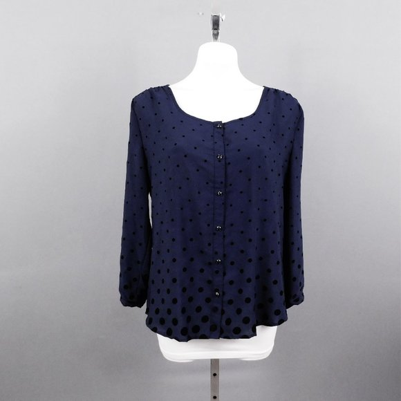 Lands' End Women Shirt Dark Blue 12